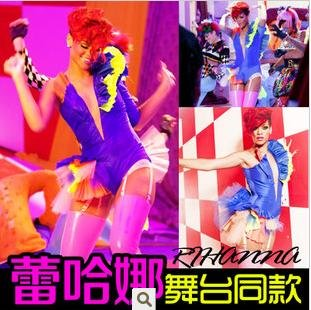 Fashion Rihanna star's same DS Club Performance Clothing Stage Dance Costumes Singers Wear colorful Sexy Leotard