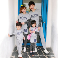 2016 Spring Autumn New Family Matching Outfits Mom Dad Kids BOBO Stripe Long Sleeve Cotton T