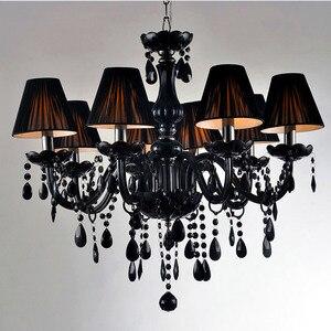 Image 2 - Lampadario moderno breve candela nera di cristallo lampada lampadario sala da pranzo lampade a luce con nero shades vendita diretta della fabbrica
