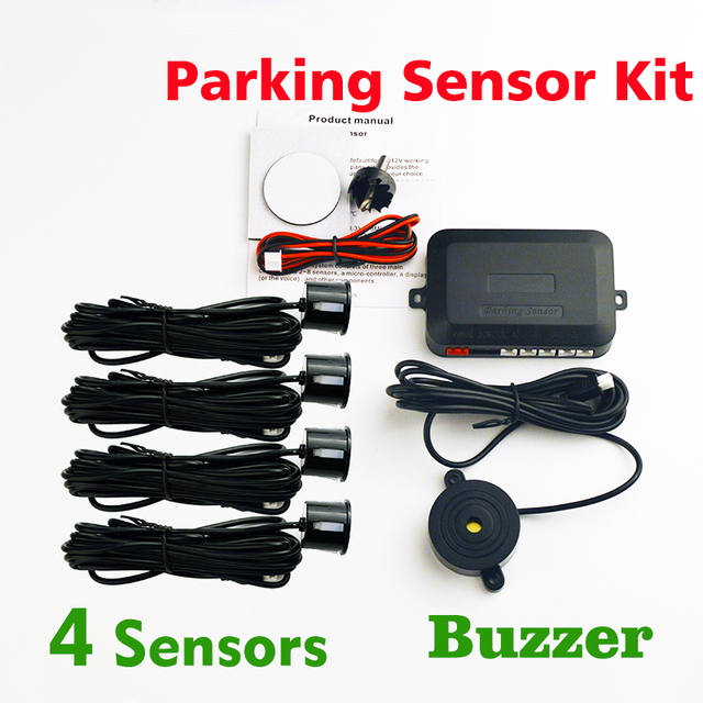 Viecar Buzzer Car Parking Sensor Kit (With/No Hole Saw)Backup Radar Sound Alert Indicator Probe System 4 Sensors 22mm  8 Colors
