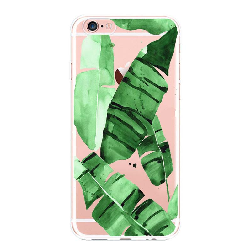 Kuliai Tropical Plants Cactus Banana Leaves soft silicon Phone cases cover For iPhone 6 6S 7 8 plus 5S SE X Capinha Coque Capa in Half wrapped Cases from Cellphones Telecommunications