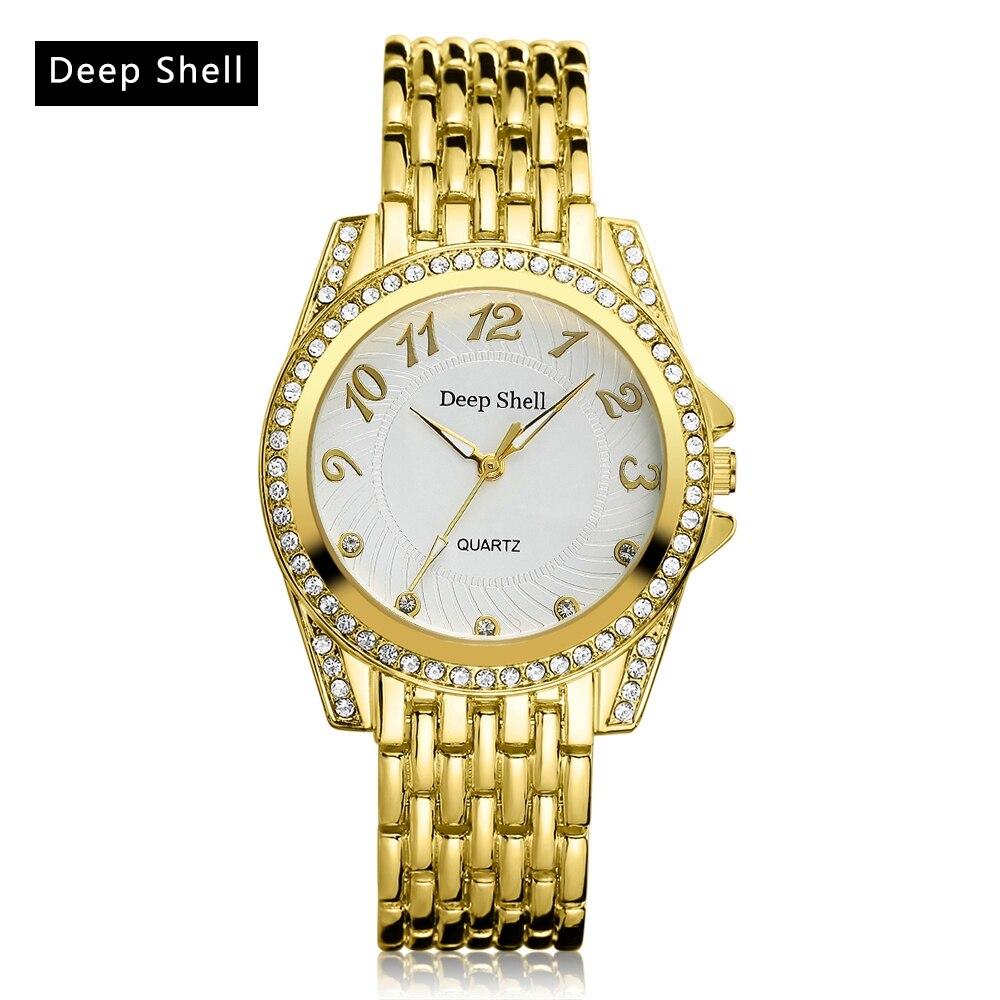 Deepshell 2017 Gold Business Casual Ladies Watch Women Contracted Metal Straps Brand Rhinestones Electronic Quartz Wristwatch