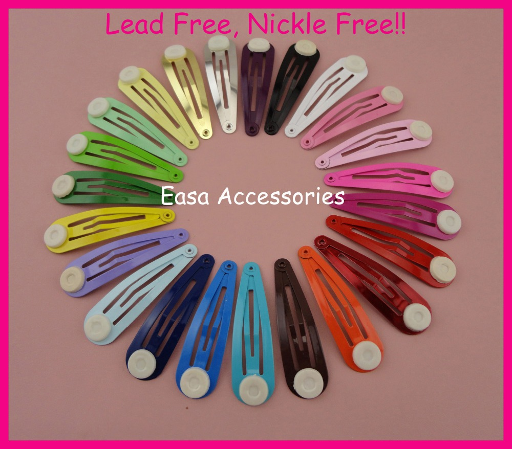 50PCS 5.0cm 2.0 Assorted Colors Round Head Plain Metal Snap Hair Clips with pads at nickle free and lead free,BARGAIN for BULK 50pcs assorted colors 40mm 1 5 plain round head metal snap clip with cross hook at lead free and nickle free diy hair clips kid