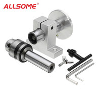 ALLSOME Live Lathe Center Head with Chuck DIY Accessories for Mini Lathe Machine Revolving Centre Woodworking Tool HT1990