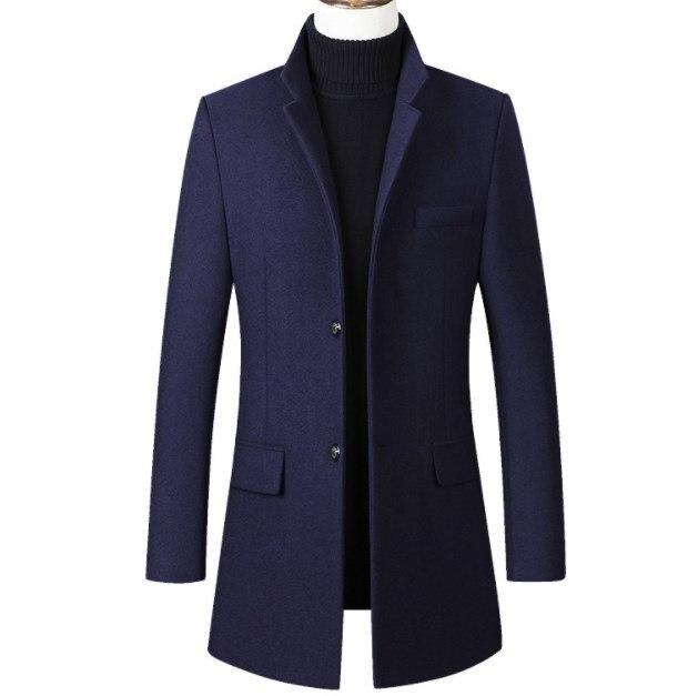 Hommes hiver chaud longue Parka Homme noir bleu gris rouge hommes décontracté longue laine Trench manteau rembourré veste coupe mince matelassé vêtements d'extérieur