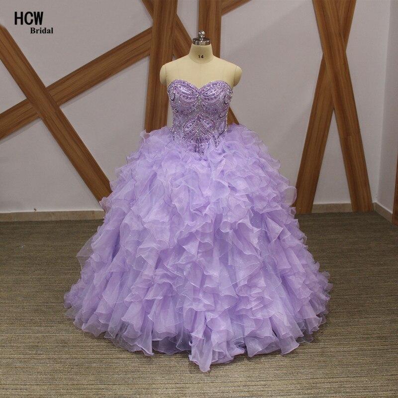 Lavande grande taille Quinceanera robe à lacets Nack cristaux perlé haut Organza robe de bal 2019 douce 16 robes de fête Quinceanera