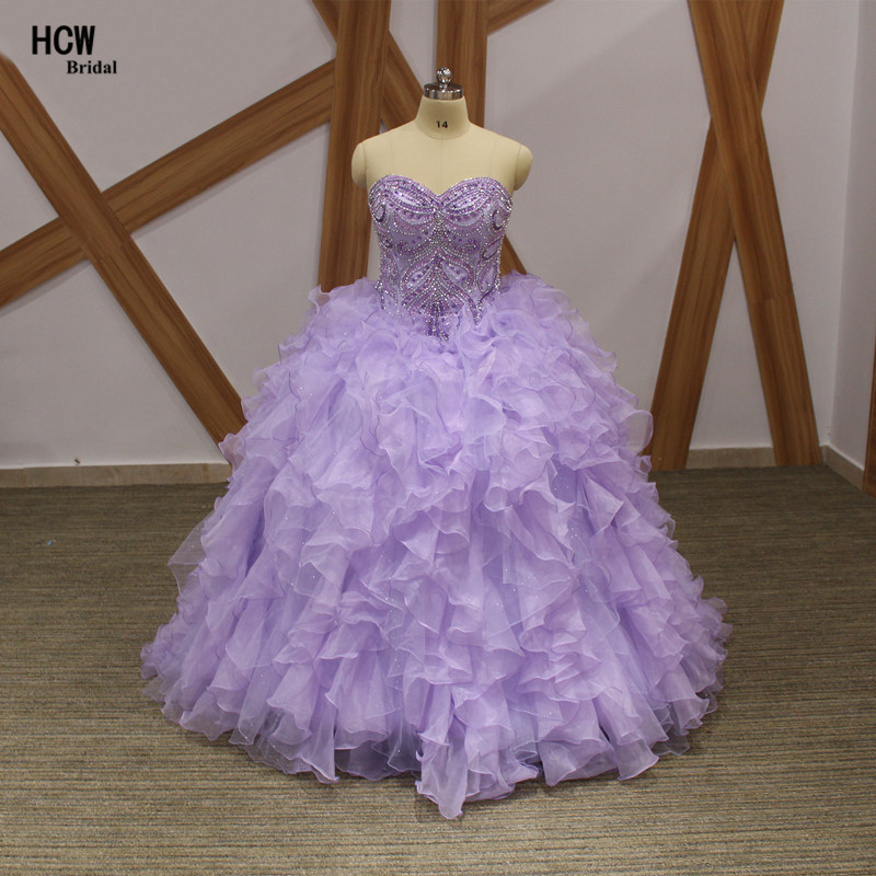 Lavender Plus Size Robe Quinceanera Lace Up Nack Cristaux Perlé Top Robe De Bal En Organza 2019 Douce 16 Robes De Fête Quinceanera