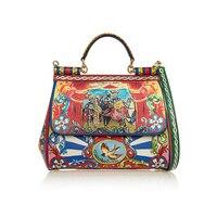 Сицилия Сумка роскошный дизайнера вдохновили Для женщин Средний Carretto принтом разноцветная кожаная сумка повседневная женская обувь сумка