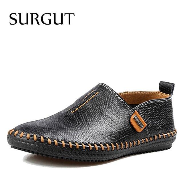 Мужские мокасины на плоской подошве SURGUT, черные туфли из натуральной кожи, повседневные мягкие лоферы для вождения, дышащая обувь для весны и осени, 2019
