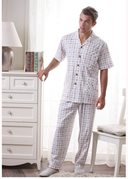 Sleepwear new male brief casual plaid woven 100% cotton lounge set