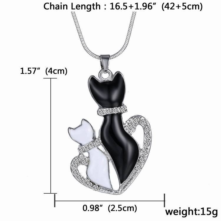 NEW LOVELY CAT PAW BLACK WHITE 2 CAT ON HEART CRYSTAL PENDANT NECKLACE-Cat Jewelry-Free Shipping NEW LOVELY CAT PAW BLACK WHITE 2 CAT ON HEART CRYSTAL PENDANT NECKLACE-Cat Jewelry-Free Shipping HTB1K