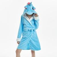 MCCKLE Winter Women Flannel Bath Robe Cartoon Unicorn Hooded Bathrobe Sleepwear Women Thick Warm Fleece Pajama Robe Dropshipping 3