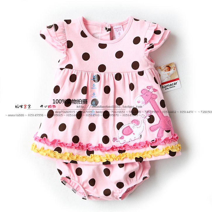 New arrival 2014 summer baby & kids clothes sets girls Short sleeve polka dot T-shirt dress + child shorts sets girl t shirt 6 size new 2014 summer baby