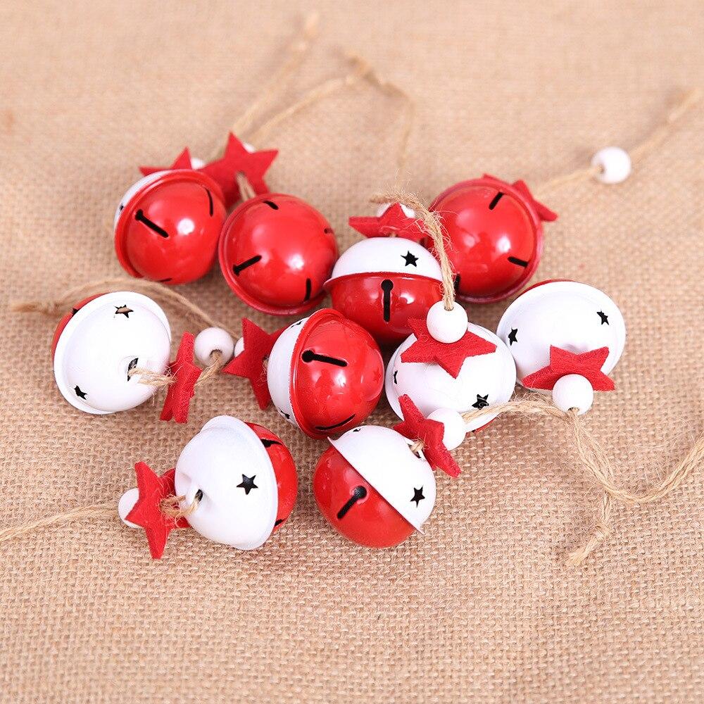 4 pcs/pack 4cm cloches de noël en fer métal rouge blanc clochettes pour artisanat de noël