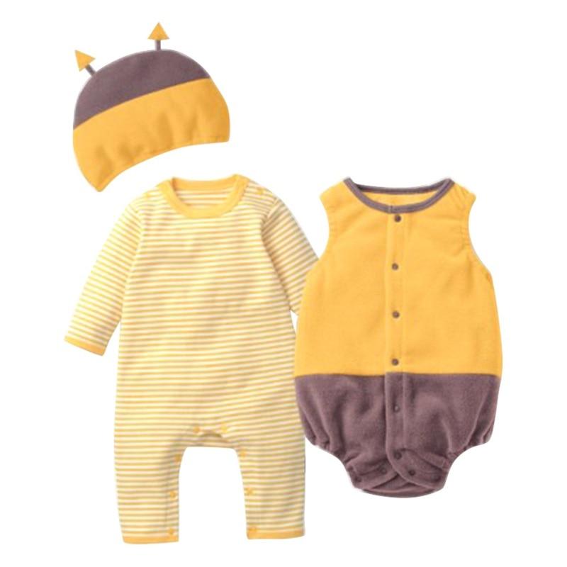 Halloween Pumpkin Strawberry Baby Clothing Sets Infant Boys Girls Jumpsuit+Romper+Hat 3pcs/set 0-18M