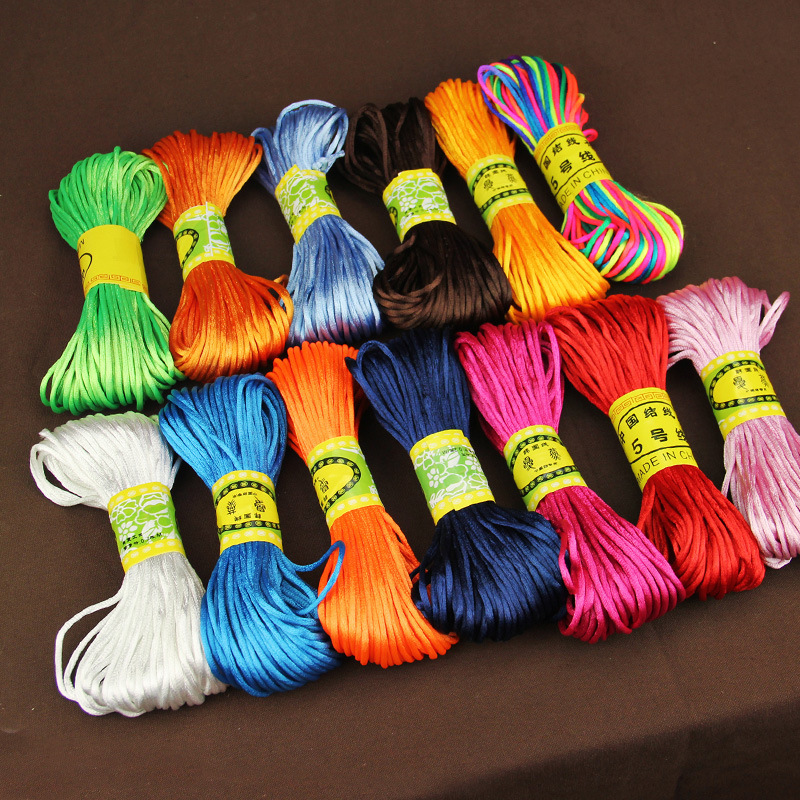 25 Colors 20meters/roll Chinese Knot Beading Jewelry Thread Cords 2mm Soutache Rope For DIY Bracelets Jewelry Making Accessories