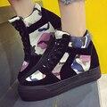 Высокие Верхние Женщины Повседневная Обувь Мода Платформа Холст Обувь Женские Клинья Лианы Корзина Толстый Каблук Кроссовки Chaussure Femme