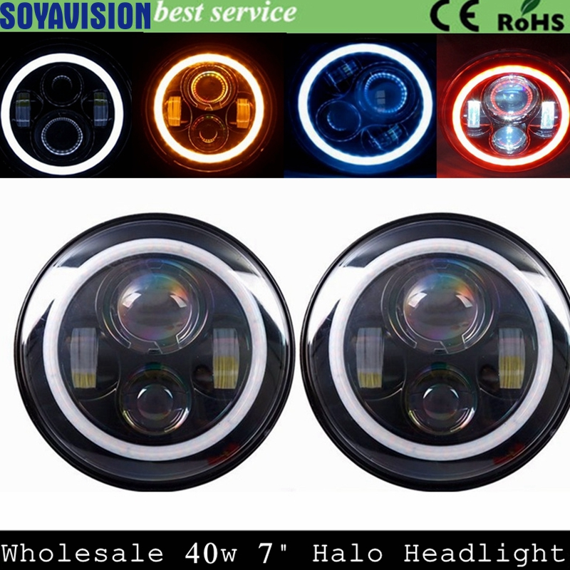 7inch LED Halo Headlights Kit 7 LED Headlight H4 Hi low Auto Headlight With Angle Eye