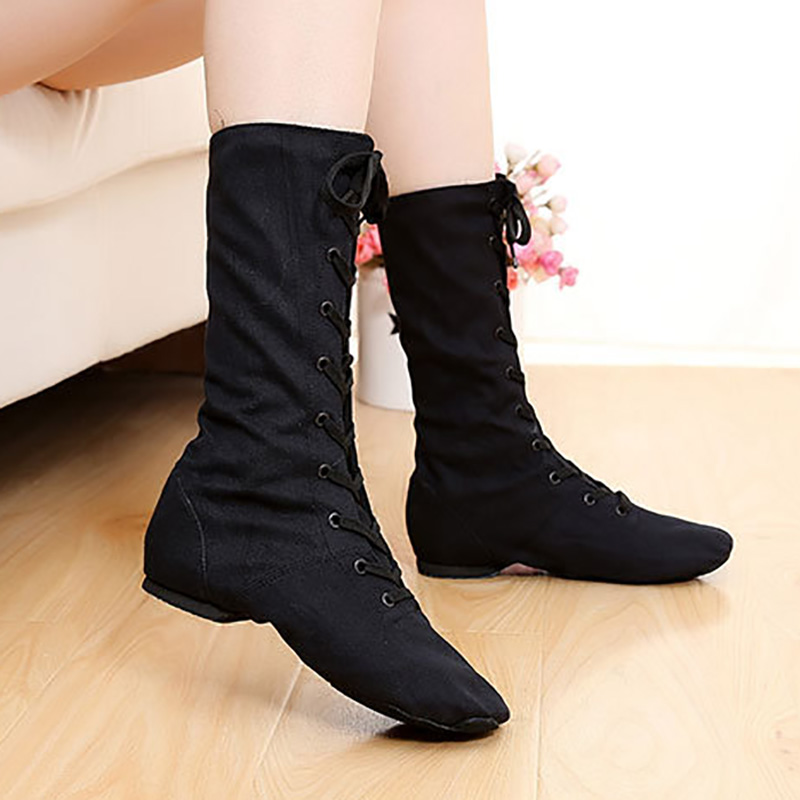Black Quality High top Canvas Light Weight Ballet Yoga Practise Fitness Jazz Dacing Shoes For Kids Girls Woman