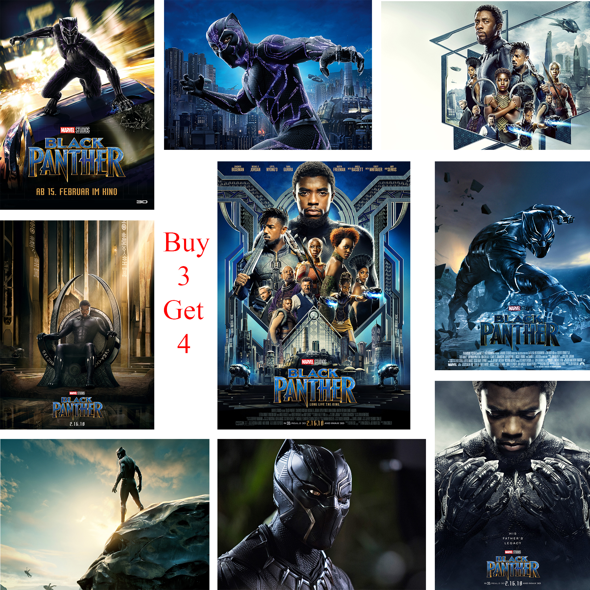 Poster Black Panther High Definition Wall Stickers Home Decoration White Coated Paper figure class ultra instinct goku