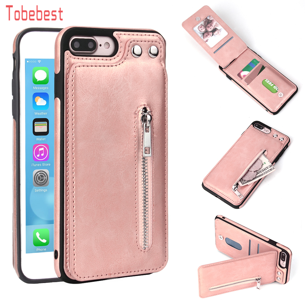 Instances For Iphone X eight 7 6S 6 Plus 5S Se Trend Zipper Leather-based Telephone Case Card Holder Pockets Cowl For Iphone 7 Plus/xs/xs Maxxr