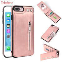 Cases For iPhone X 8 7 6S 6 Plus 5S SE Fashion zipper Leather Phone Case Card Holder Wallet Cover for iphone 7 plus/XS/XS MaxXR