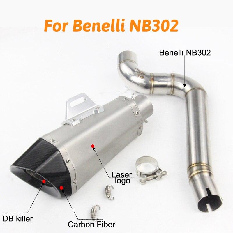 Benelli NB302 moto système complet d'échappement mi lien tuyau moto Laser marquage pour Benelli fibre de carbone silencieux pour NB 3022