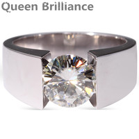 3 Carat Ct F Color Engagement Wedding Lab Grown Moissanite Diamond Ring For Men Solid 14K