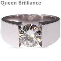 3 Carat Ct F Color Engagement Wedding Lab Grown Moissanite Diamond Ring For Men Solid 14K