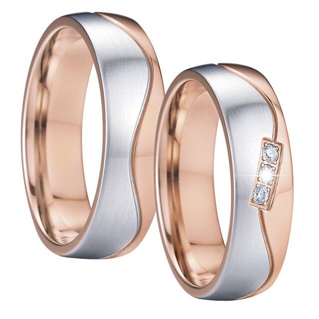 Vintage fascia di cerimonia nuziale anello da uomo anello delle donne eleganza alleanza bague anel anelli in oro rosa di colore promessa di una coppia di anelli coppia
