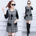 Trendy Winter Basic Plaid Dress Knitting Sleeves Patwork Faux Fur Pocket Warm Vestidos Female Short Check Dresses with Necklace