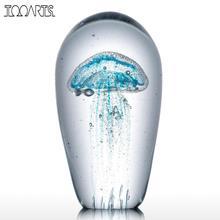 Голубая Медуза стеклянная скульптура домашнее украшение стеклянная Медуза лучший подарок для друзей