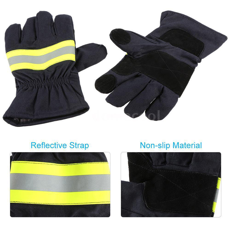 цена 2x Firefighting Gloves Fire Proof Heat Proof Waterproof Anti-fire Gloves F0L6 H1