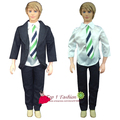free shipping 1 sets handmade clothes black suit white shirt  with tie pants  for barbie boy firend for barbie doll ken