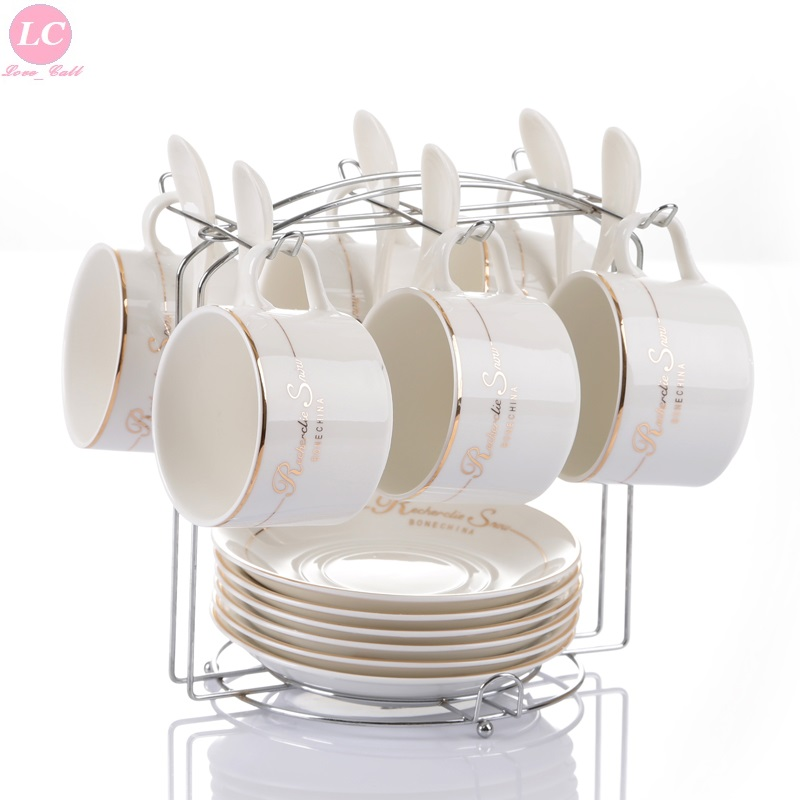 European creative bone china coffee cup coffee cover ceramic coffee cup set assembly spoon with shelf 6 pieces suit