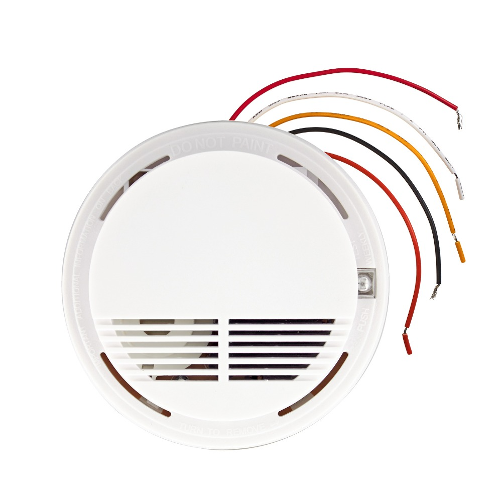 Lowest price!Wired Smoke/fire Detector Home Security Smoke Detector Alarm Sensor For GSM PSTN Burglar Alarm System 315/433mhz