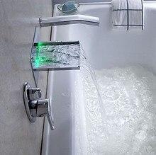 Vodopádová vanová baterie na stěnu s LED podsvětlením