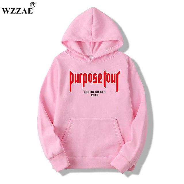 Justin Bieber Poster Hip Hop sweat homme Hoodie Hooded Man Letters Justin Bieber Purpose Tour Streetwear Gray Black Pink Hoodies 3