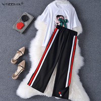 wreeima 2pieces summer set women tracksuit outfit casual lovely printing cotton letter short t shirt tops+Loose pants sweatshirt
