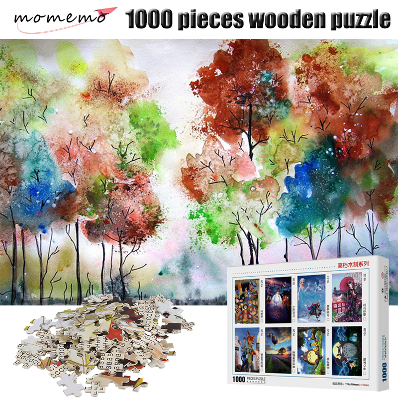 MOMEMO Color Tree Adult Puzzle Games 1000 Pieces Wooden Puzzle Jigsaw Puzzles for Kid Educational Toys Adult Puzzles 1000 Pieces