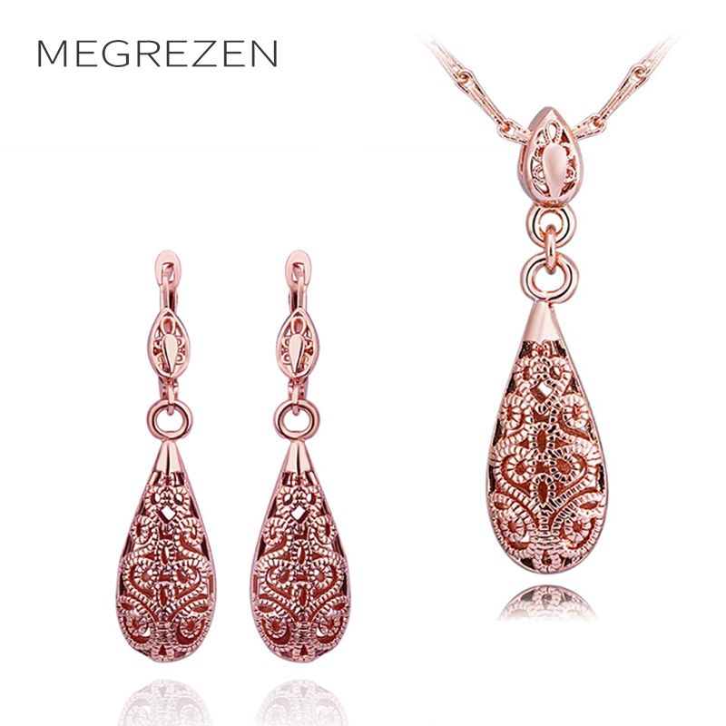 Turkish Necklaces Costume Jewelry Sets Rose Gold Color Statement