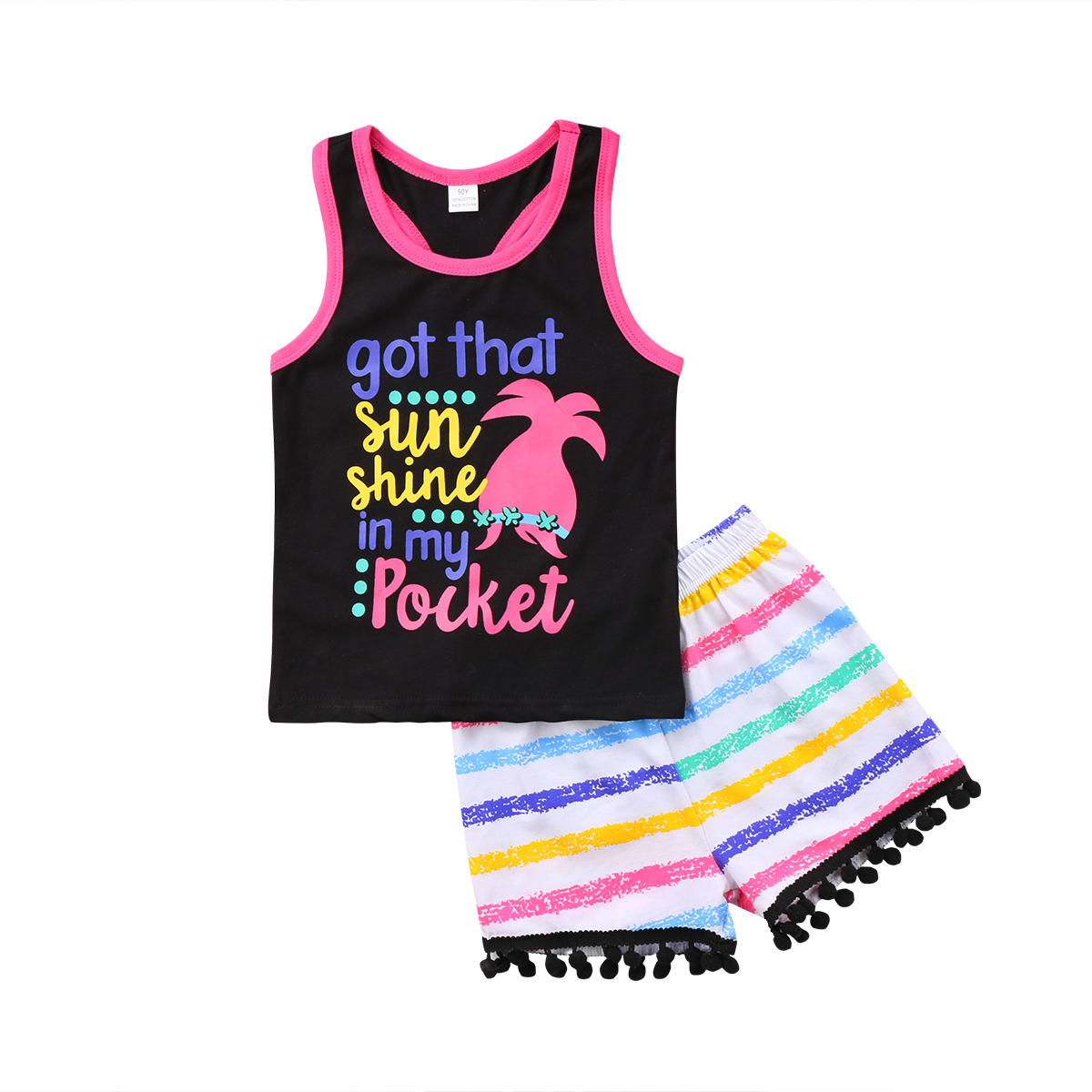 2PCS Summer Kids Baby Girl Clothing Sleeveless Tank Top T Shirt Shorts Cotton Casual Clothes Outfit Set Girls 1-6T