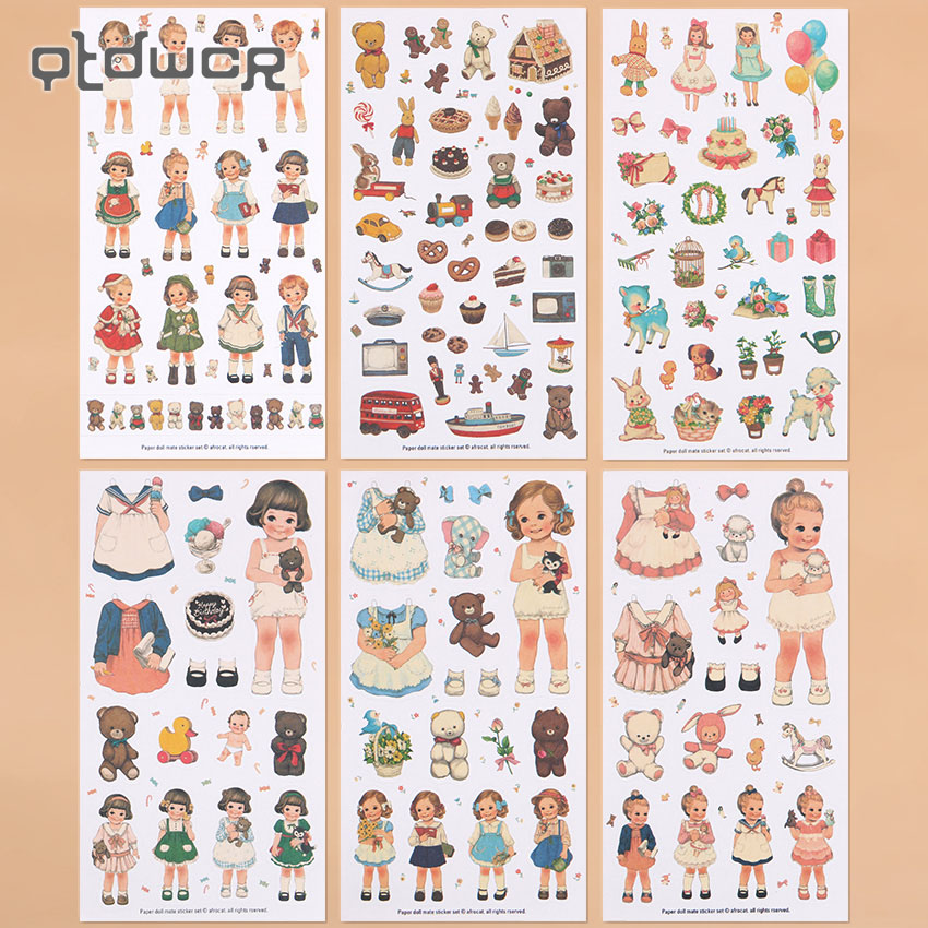 6PCS/Set Kawaii Girl Dolls Stickers Decorative Stickers Different Shapes Stationery Stickers Craft Decorative Art Labelling