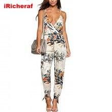 IRicheraf летние женские праздничные повседневные Комбинезоны без рукавов модные женские богемные цветочные боди широкие свободные длинные брюки