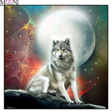 MOONCRESIN DIY Diamond Embroidery Moon Lone Wolf Painting Cross Stitch Full Square Drill Rhinestone Mosaic Decoration Artwork