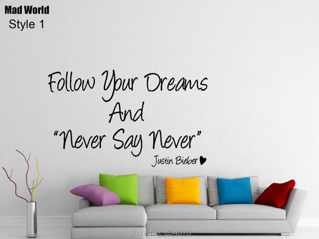 Mad World-Follow Your Dreams Never Say Never Wall Art Stickers Wall Decal Home DIY  sc 1 st  AliExpress.com & Mad World Follow Your Dreams Never Say Never Wall Art Stickers Wall ...