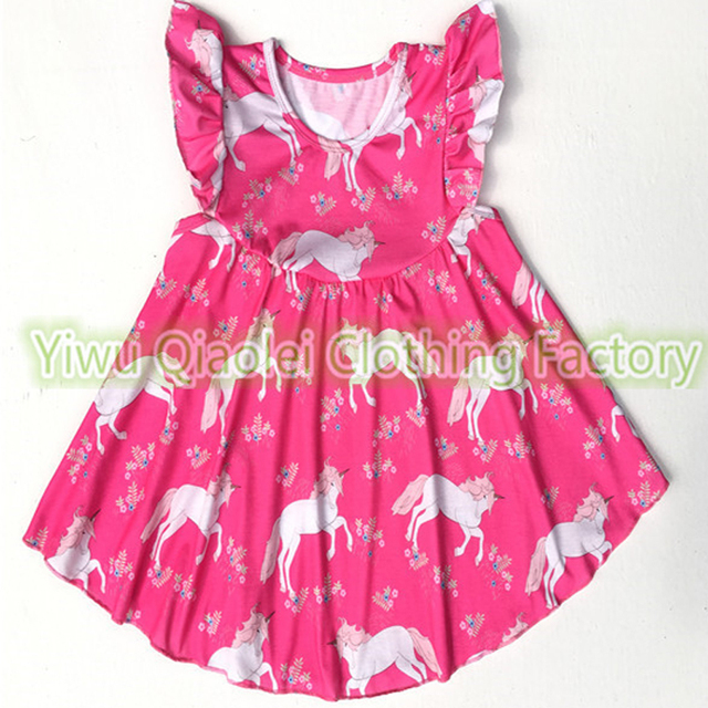 a53ed2b54e643 US $350.0 |wholesale Baby Girls spring summer cloth kids horse pattern with  ruffle Sleeve Dress children rose pink sweet party dress-in Dresses from ...