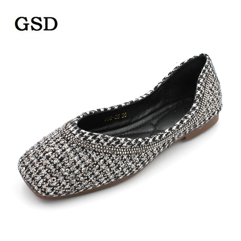 Plus Size Designer Crystal Woman Flat Shoes Elegant Comfortable Lady Fashion Rhinestone Women Soft Bees Shoes