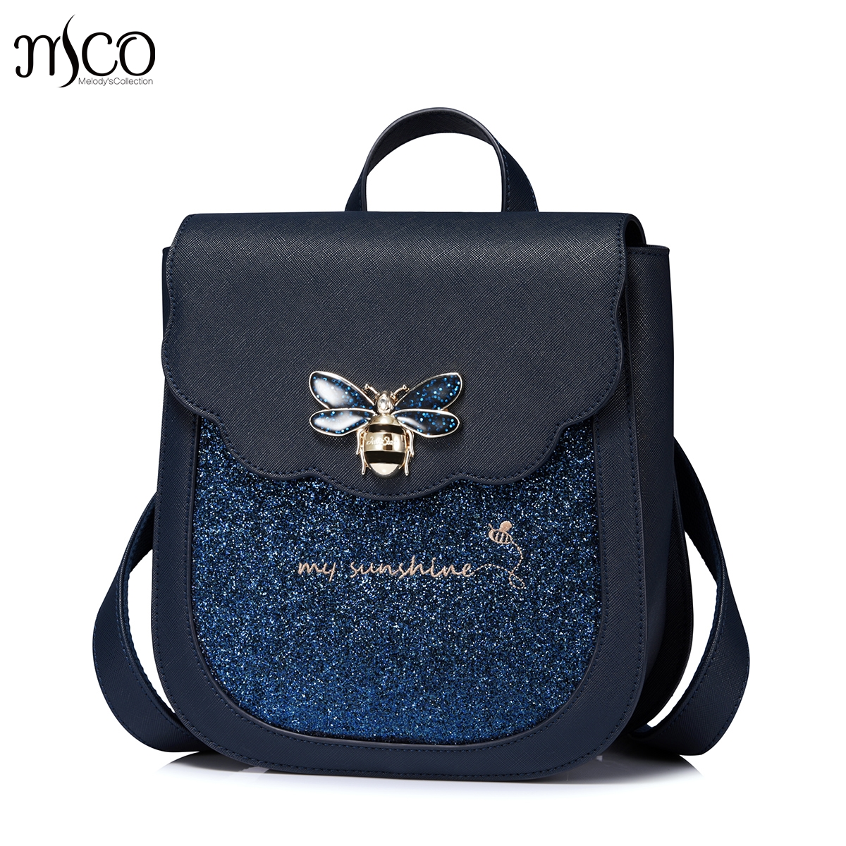 Women Luxury Blue Sapphire insect Backpack PU Leather Mochila Escolar School Bags For Teenagers Girls High Quality Backpacks