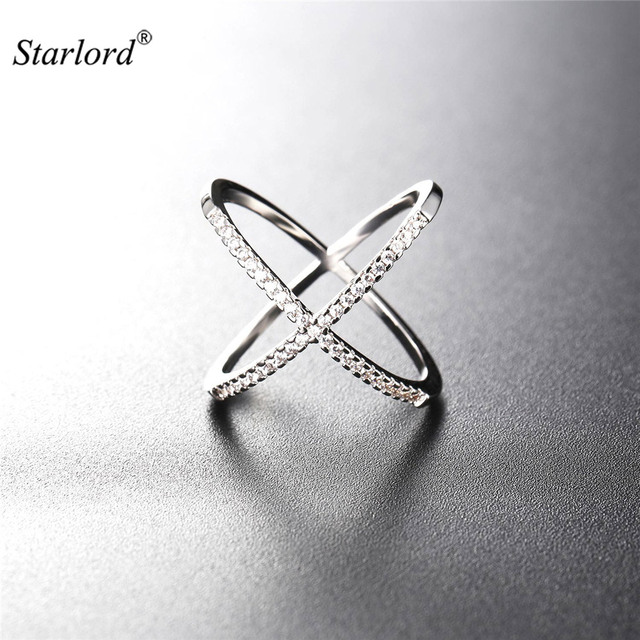 Starlord X Shape Ring Gift Box Aaa Cubic Zironica Gold Silver Color Vintage Unique Design For Women R2561